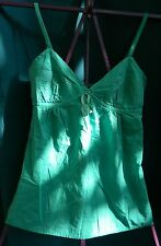 S O Light Turquoise Spaghetti Strap Elastic Back 100% Cotton Top Size S