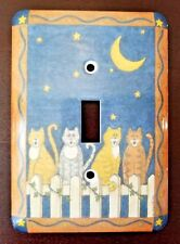 Amertac Singing Cats Metal Wallplate Single Toggle Deco Style Jumbo Size #739