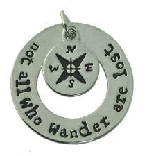 Not all those who wander are lost Sterling Silver Compass 2 pc charm Jewelry New