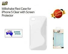 Brand New-Milkshake Flexi Case for iPhone 5 Clear+Screen Protector+Cleaning Gear