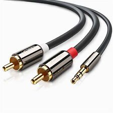 Ugreen 2m 3.5mm Mini Stereo Jack to 2 X RCA Twin Phono Cable Lead Gold PC TV AUX