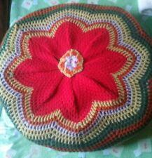 Cuscino Fiore In Rilievo lana Fatto A Mano uncinetto vintage rotondo diam. 38 cm