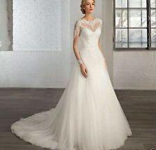 UK New White/Ivory lace long sleeve wedding dress bridal Gown Custom made