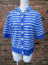 Liz & Co. XL Short Sleeve Blue & White Striped Hooded Button Front Shirt EUC