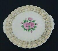 "Sebring China Bouquet Roses Flowers I K S518 22 K Gold Trim 8"" Serving Plate"