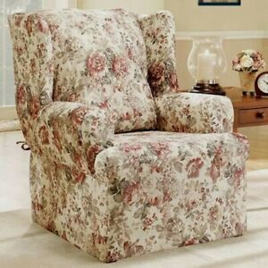 Sure Fit Chole floral roses Wing Chair Slipcover homestyle washable NEW