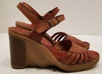 Vintage Famolare Hi Up 5.5 70's Sandal Wavy Sole Platform Wedge Brown Italy