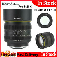 Kamlan 50mm f1.1 II Large Aperture MF Camera Lens Black For Fuji X Mirrorless WN