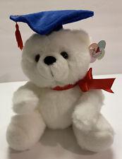 """Angel Toy Graduation white Teddy Bear w/ Blue Cap & Red Ribbon Bow 7"""" Sitting"""