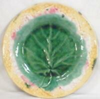 Etruscan Majolica Leaf on Plate Pottery Green Yellow Pink Antique