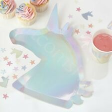 Iridescent Unicorn Shaped Paper Plates Girls Kids Party Tableware Supplies x 8