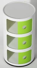 3 Tier Bedside Drawer Round Storage Bathroom Unit Table Lamp Book Magazine Green