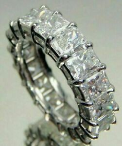 5 Ct Emerald Cut Moissanite Eternity Wedding Band Ring 14K White Gold Over