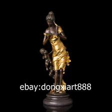 43 CM West Art Deco Bronze Young Girl Fairy Maiden Children Boy Cupid Sculpture