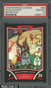 2008-09 Bowman Chrome Refractor Kevin Durant Seattle Supersonics 35/499 PSA 10
