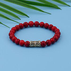 2Pcs/Set Luxury Women Men Micro Pave CZ Ball Crown Red Agate Bracelets Jewelry