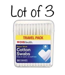 3- CVS Health Travel Size Cotton Swabs ~ Paper Stick ~ 50 Ct ( Lot Of 3 ) Q Tip