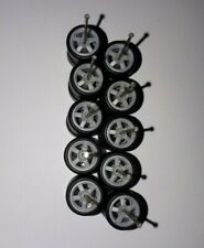 1:64 Scale Rim/Tyre Set - 5 Spoke - Grey (Real Rubber Tyres)
