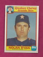 RARE 1986 ASTROS NOLAN RYAN QUAKER CHEWY GRANOLA BARS  CARD (INV# 8754)