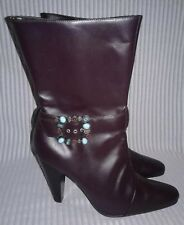 1dbbb7111c0 NEW Newport News Womens Dark Brown Boho Leather Rhinestones Mid Calf Boots  10 M