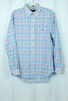 Vineyard Vines Mens Slim Fit Tucker Long Sleeve Shirt Blue and Pink Plaid Sz M