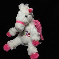 "Dan Dee Pink White Love Horse Pegasus Wings Plush Soft Toy 8"""