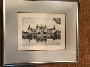 Etching Print by Leopold Robin 1936 FRENCH CHATEAU  SIGNED