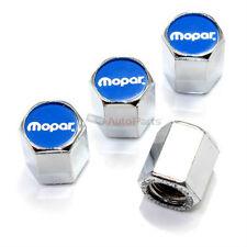 (4) Mopar Blue Logo Chrome ABS Tire/Wheel Stem Air Valve Car Truck Caps Covers