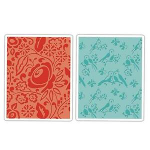 Sizzix Textured Impressions Embossing Folders - Birds & Blooms Set 657393