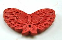 2xVintage Chinese Lacquer Red Cinnabar Hand Carve Butterfly Bead Pendent Jewelry
