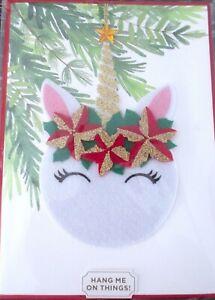 Papyrus Gemmed Unicorn Hangable Ornament Holiday Greeting Card Rtl $10.50