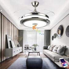 Modern Bluetooth Invisible Ceiling Fan LED Light Music Player Chandelier 36