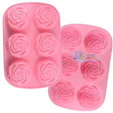 6 Rose Silicone Muffin Cup Cake Jelly Baking Mould Pan DIY Pudding Soap Mold UK