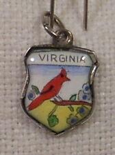 Vintage REU Sterling/Enamel Virginia State Bird Cardinal Bracelet/Travel Charm