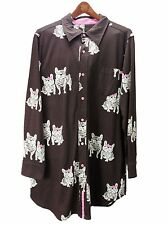 New French Bull Dogs Sz M brown pink bow cotton jersey knit pajama top