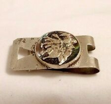 Abalone Shell Corrida Money Clip Vintage Taxco Sterling Silver &