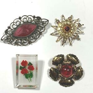 Vintage Brooches Pins Red Lucite Open Filigree Metal Gold Tone 4 Styles Shapes