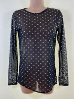 BNWOT NEXT black & silver polka dot spotty tulle lace stretch blouse top size 8