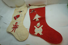 VINTAGE CHRISTMAS STOCKINGS LOT 2 RED WHITE FELT PIPE CLEANER ELF APPLIQUE 1950s