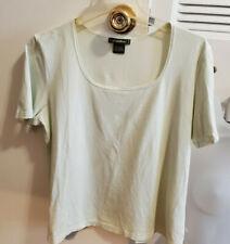 Eddie Bauer Women's Sz L Square Neck Short Sleeve T-shirt Very Light Green