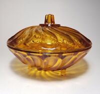 Nadir Figueiredo Amber Glass Candy Dish with Lid & Swirl Design 📹 Video in Desc