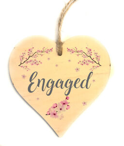 Engaged Vacant Double Sided Wooden Hanging Heart Door Sign Decorative Plaque