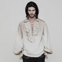 Men's Pirate Steampunk Victorian Renaissance Medieval Dirty White Shirt Top