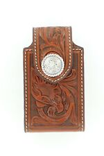 iPhone4 Case ~Black Brown TOOLED LEATHER~ Belt Clip Western Cowboy Silver Concho