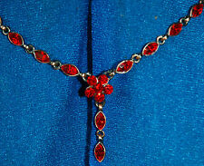 New Mood Red Glass Diamonds On Blackened Copper Oval & Floral Necklace