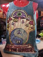 Yoga tank top sleeveless cotton MAGIC MUSHROOMS trance New Yin Yang Om Hippie M