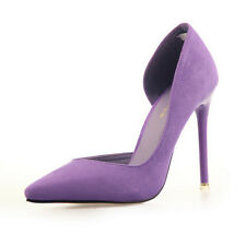 Fad Women Suede Point Toe Pumps Stiletto High Heels Work Court Party Prom Shoes