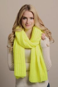 Bright Neon Lemon Yellow Super Soft Knit Long Scarf B24
