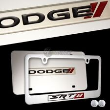 DODGE SRT-8 Mirror Stainless Steel License Plate Frame w/ cap- 2PCS FRONT & BACK