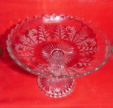 Ancienne coupe à fruit en verre taillé sur pied H 14 cm Diam 21 cm